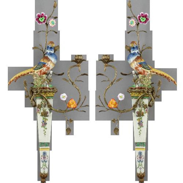 13377-13389 Wild Breeze Wall Hanging w/Candle Cup Set Of 2