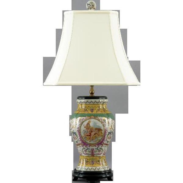 23414 Wistful Cherubs Oval Pomeg Vase Lamp 16x12x29 by Oriental Danny