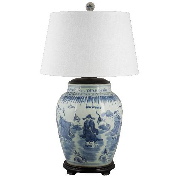 50019-L Blue & White Classic Lamp by Oriental Danny