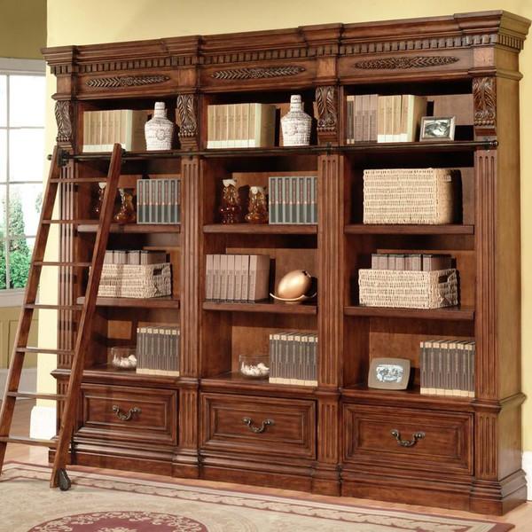 GGRA-9030-3 Grand Manor Granada Museum Library Bookcase w/Ladder