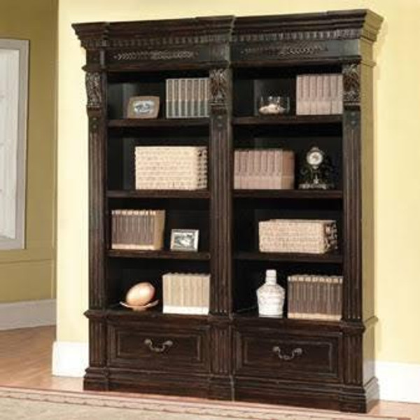 GPAL-9030-2 Grand Manor Palazzo 2 Piece Museum Bookcase In Black