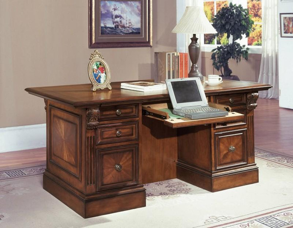 HUN-480-3 Huntington Double Pedestal Executive Desk In Pecan