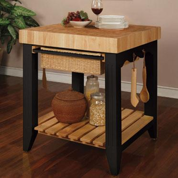 Color Story Black Butcher Block Kitchen Island 502-416 by Powell