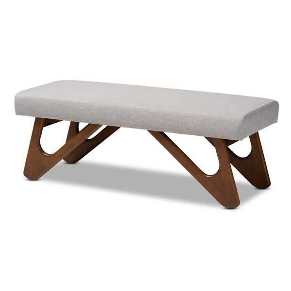 Baxton Rika Mid-Century Modern Greyish Beige Fabric Upholstered Walnut Brown Finished Boomerang Bench BBT5367-Greyish Beige/Walnut-Bench