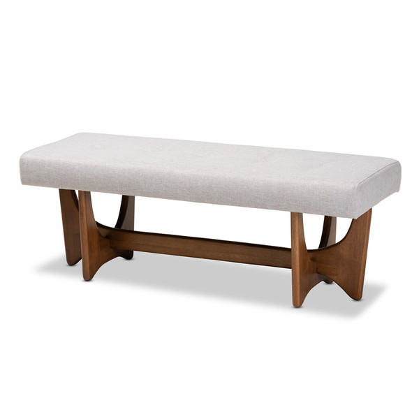 Baxton Theo Mid-Century Modern Greyish Beige Fabric Upholstered Walnut Finished Bench BBT5368-Greyish Beige/Walnut-Bench