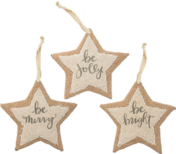 100322 Xmas Ornament Set - Large Stars - Set Of 4 By Primitives by Kathy