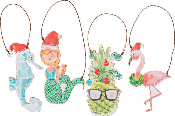 100431 Xmas Ornament Set - Tropical - Set Of 4 By Primitives by Kathy