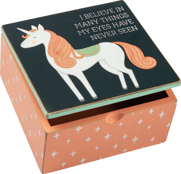 100923 Hinged Box - I Believe In Many - Set Of 4 By Primitives by Kathy