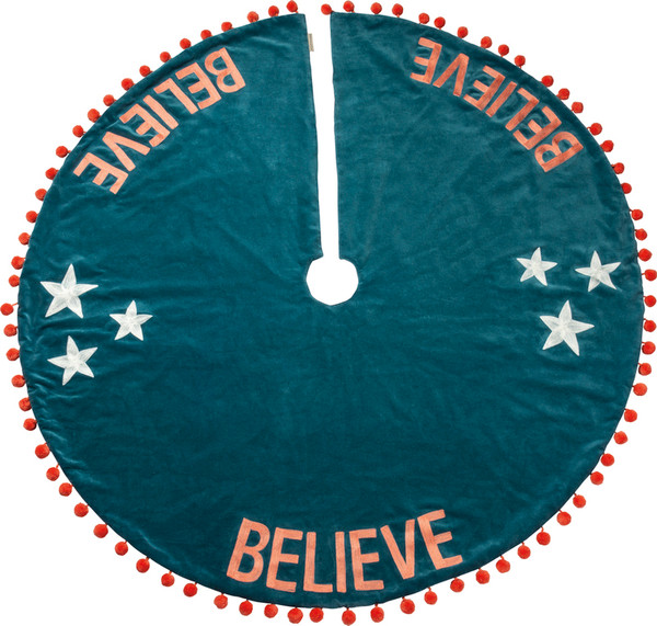 101053 Tree Skirt - Believe - Set Of 2 By Primitives by Kathy