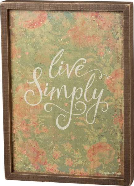 101111 Inset Box Sign - Live Simply - Set Of 2 By Primitives by Kathy