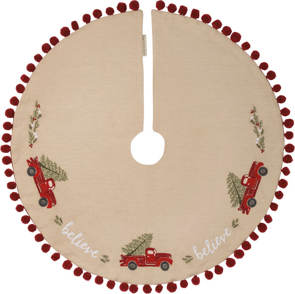101318 Med Tree Skirt - Believe Truck - Set Of 2 By Primitives by Kathy
