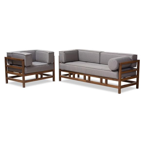 Baxton Shaw Mid-Century Modern Grey Fabric Upholstered Walnut Wood 2-Piece Living Room Sofa Set BBT8033-1-Grey-XD45-2PC Set