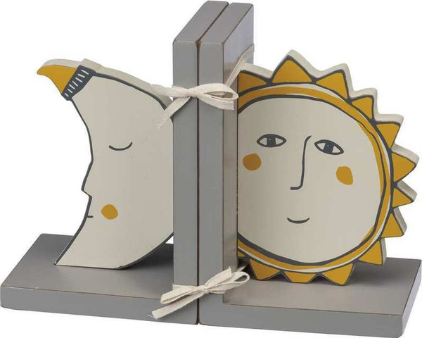 101955 Bookends - Sun And Moon - Set Of 2 By Primitives by Kathy