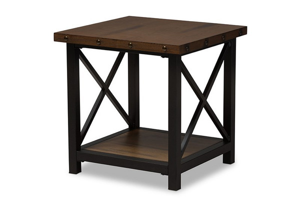 Herzen Black Metal/Wood Occasional End Table CA-1117-ET (YLX-2680ET)