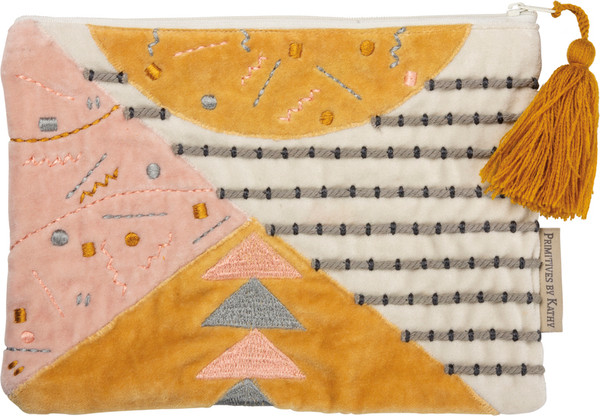 102464 Zipper Pouch - Pink & Gold - Set Of 4 By Primitives by Kathy
