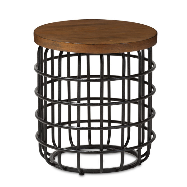 Baxton Carie Rustic Industrial Style Antique Black Textured Finished Metal Distressed Wood Accent Table CA-1123 (YLX-2703LSB)