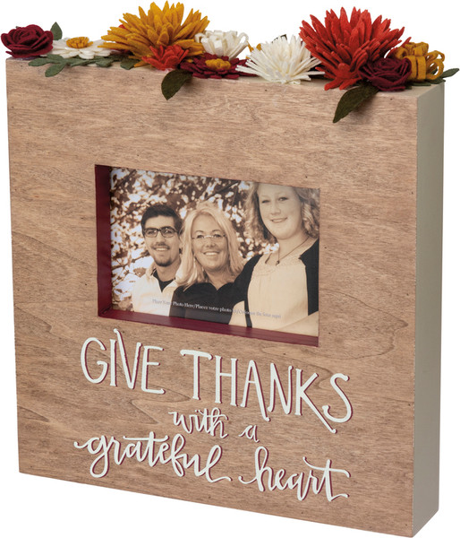102932 Box Frame - Give Thanks - Set Of 2 By Primitives by Kathy