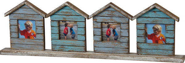 103278 Slat Photo Frame - Four Houses - Set Of 2 By Primitives by Kathy