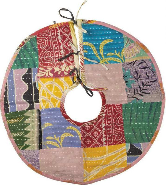 103780 Tree Skirt - Med Kantha - Set Of 4 By Primitives by Kathy