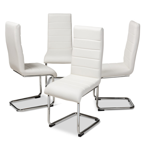 Baxton Marlys Modern And Contemporary White Faux Leather Upholstered Dining Chair (Set Of 4) DC004-White-4PC-Set