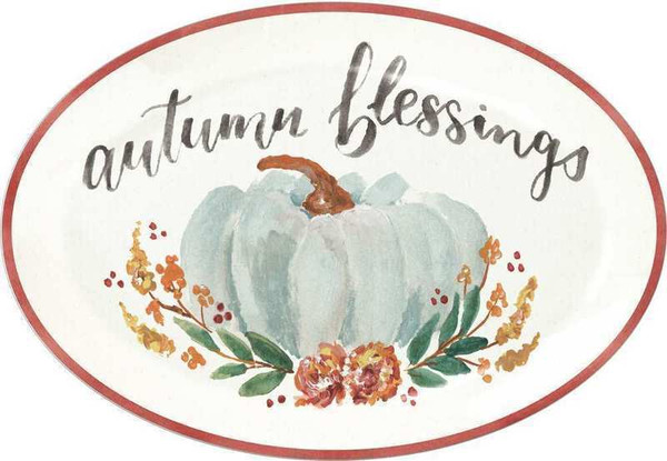 104012 Platter - Autumn Blessings - Set Of 2 By Primitives by Kathy