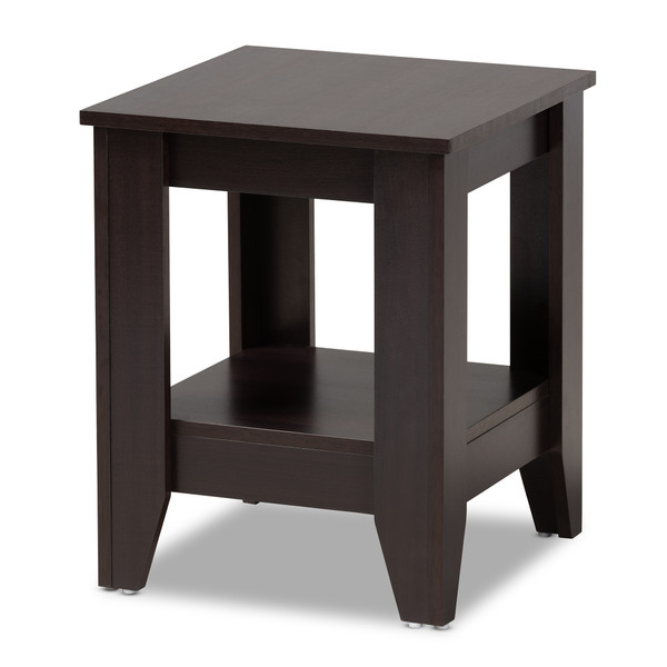 Baxton Audra Modern And Contemporary Dark Brown Finished Wood End Table ET8000-Wenge-ET