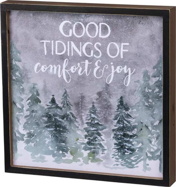 104170 Inset Box Sign - Good Tidings - Set Of 2 By Primitives by Kathy