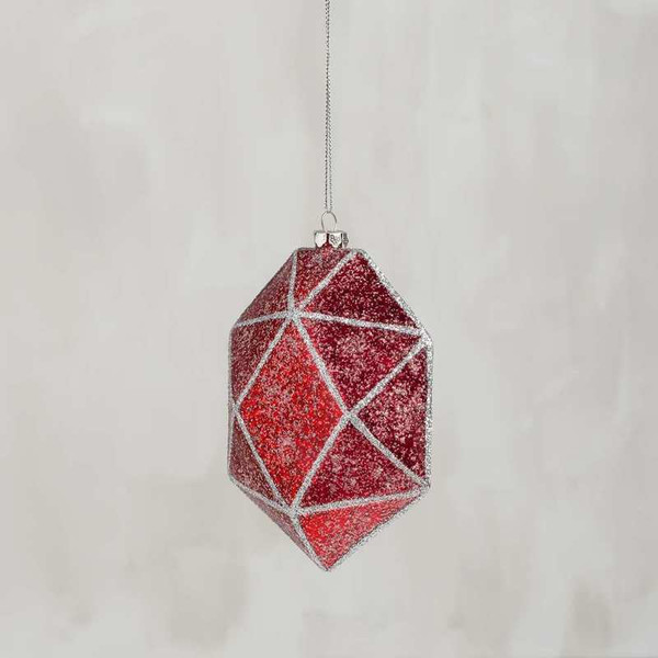 104184 Glass Xmas Ornament - Faceted Red - Set Of 6 By Primitives by Kathy