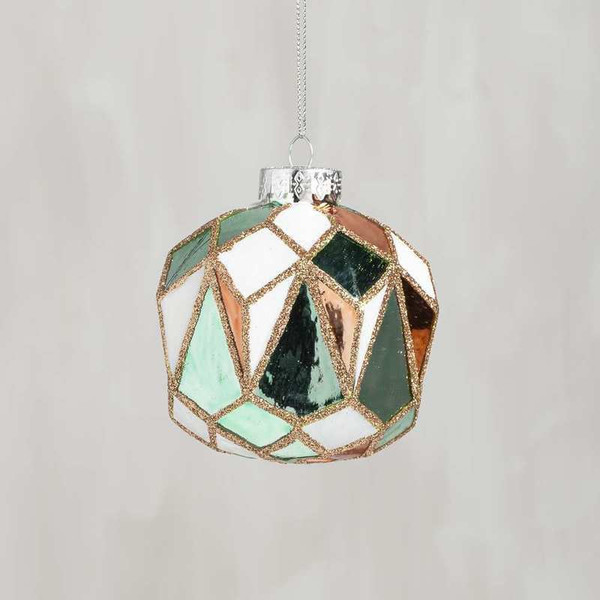 104190 Glass Xmas Ornament - Faceted Multi - Set Of 6 By Primitives by Kathy
