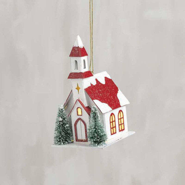 104280 Xmas Ornament - Church - Set Of 6 By Primitives by Kathy