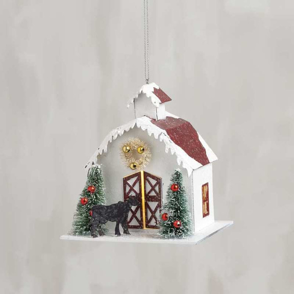 104281 Xmas Ornament - Barn - Set Of 6 By Primitives by Kathy
