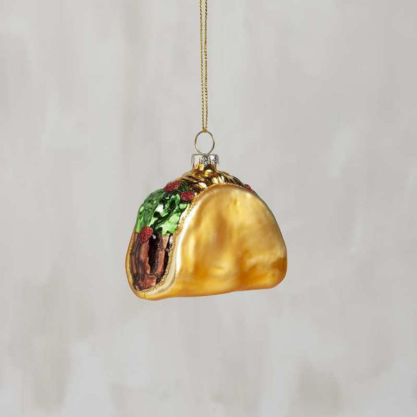 104289 Glass Xmas Ornament - Taco - Set Of 6 By Primitives by Kathy