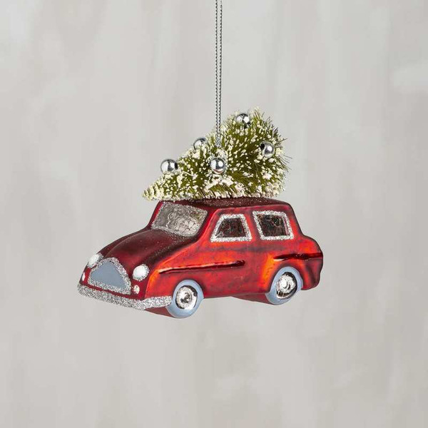 104297 Glass Xmas Ornament - Red Car - Set Of 6 By Primitives by Kathy