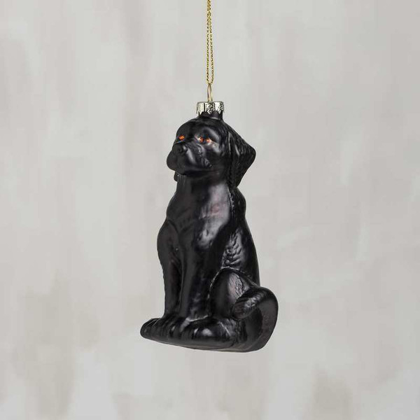 104300 Glass Xmas Ornament - Black Lab - Set Of 6 By Primitives by Kathy