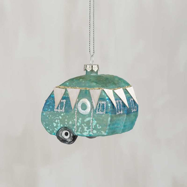 104321 Glass Xmas Ornament - Blue Camper - Set Of 6 By Primitives by Kathy