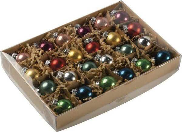 104325 Glass Xmas Ornament Set - Multi - Set Of 2 By Primitives by Kathy