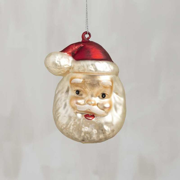 104330 Glass Xmas Ornament - Jolly Santa - Set Of 6 By Primitives by Kathy