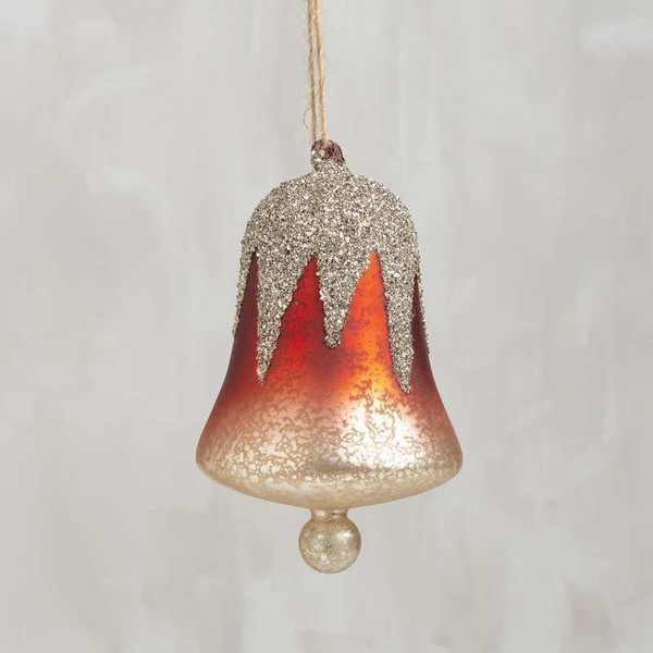 104331 Glass Xmas Ornament - Red Bell - Set Of 6 By Primitives by Kathy