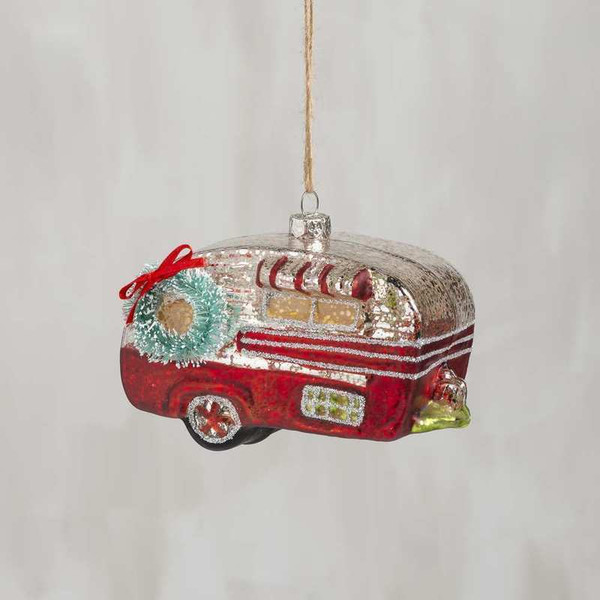 104335 Glass Xmas Ornament - Red Camper - Set Of 6 By Primitives by Kathy
