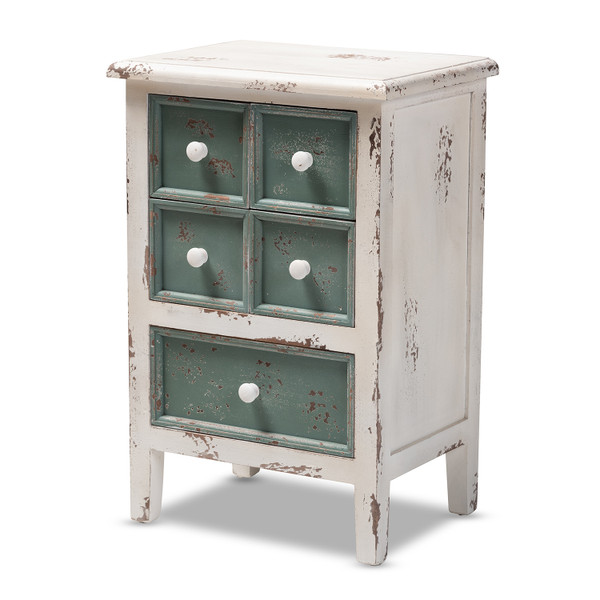 Baxton Angeline Antique French Country Cottage Distressed White And Teal Finished Wood 5-Drawer Accent Chest HY2AB040-White-Chest