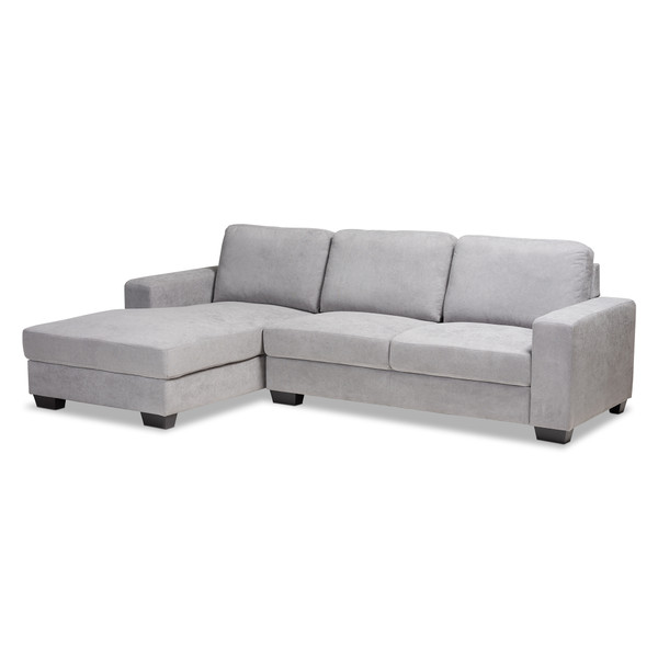 Baxton Nevin Modern And Contemporary Light Grey Fabric Upholstered Sectional Sofa With Left Facing Chaise J099S-Light Grey-LFC