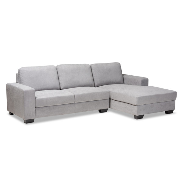 Baxton Nevin Modern And Contemporary Light Grey Fabric Upholstered Sectional Sofa With Right Facing Chaise J099S-Light Grey-RFC