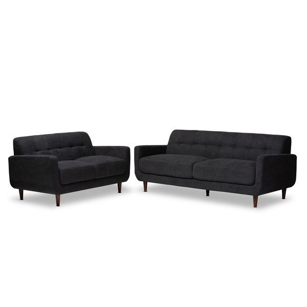 Baxton Allister Mid-Century Modern Dark Grey Fabric Upholstered 2-Piece Living Room Set J1453-Dark Grey-2PC Set