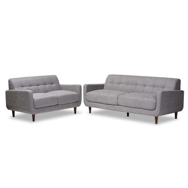 Baxton Allister Mid-Century Modern Light Grey Fabric Upholstered 2-Piece Living Room Set J1453-Light Grey-2PC Set
