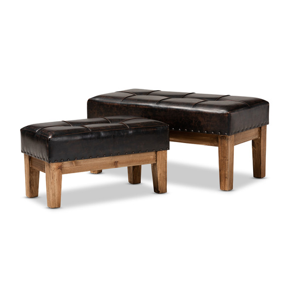 Baxton Lenza Rustic Dark Brown Faux Leather Upholstered 2-Piece Wood Ottoman Set JY17A058-Dark Brown-2PC Otto Set