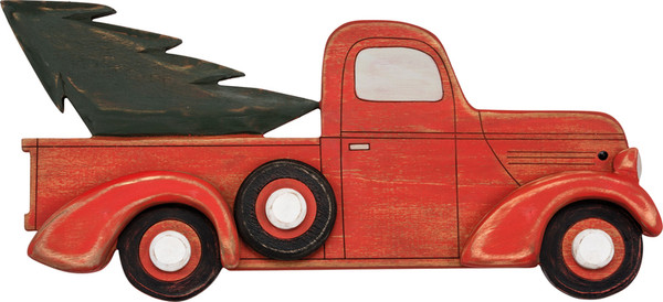 29781 Wall Decor - Red Truck & Tree - Set Of 4 By Primitives by Kathy
