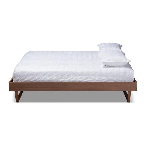 Baxton Liliya Mid-Century Modern Walnut Brown Finished Wood King Size Platform Bed Frame MG97043-Ash Walnut-Bed Frame-King