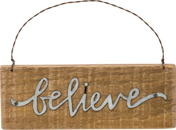 34867 Xmas Slat Ornament - Believe - Set Of 12 By Primitives by Kathy