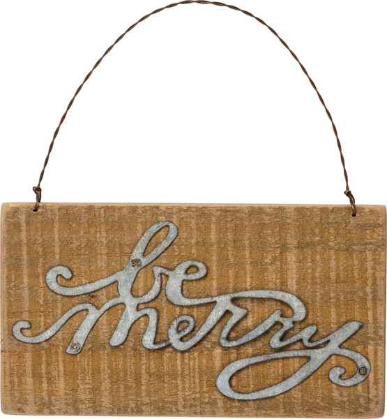 34868 Xmas Slat Ornament - Be Merry - Set Of 12 By Primitives by Kathy