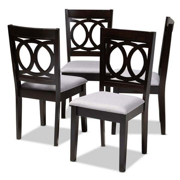 Baxton Lenoir Modern And Contemporary Gray Fabric Upholstered Espresso Brown Finished Wood Dining Chair Set Of 4 RH315C-Grey/Dark Brown-DC